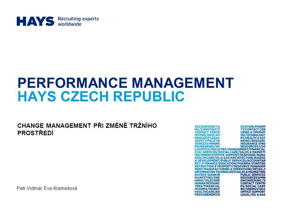 PERFORMANCE MANAGEMENT HAYS CZECH REPUBLIC Petr Vidmar, Eva Kramešová CHANGE MANAGEMENT PŘI ZMĚNĚ TRŽNÍHO PROSTŘEDÍ