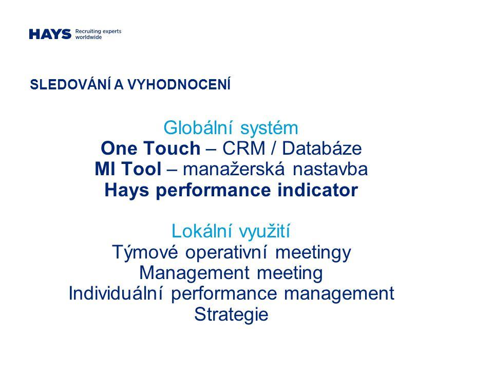 SLEDOVÁNÍ A VYHODNOCENÍ Globální systém One Touch – CRM / Databáze MI Tool – manažerská nastavba Hays performance indicator Lokální využití Týmové operativní meetingy Management meeting Individuální performance management Strategie