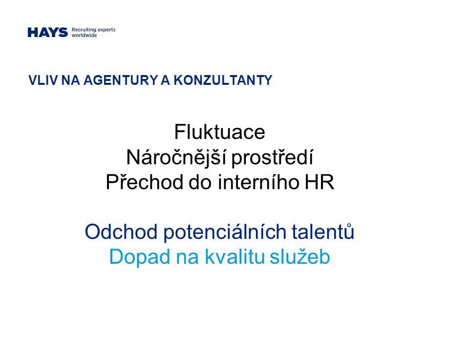 VLIV NA AGENTURY A KONZULTANTY Fluktuace Náročnější prostředí Přechod do interního HR Odchod potenciálních talentů Dopad na kvalitu služeb