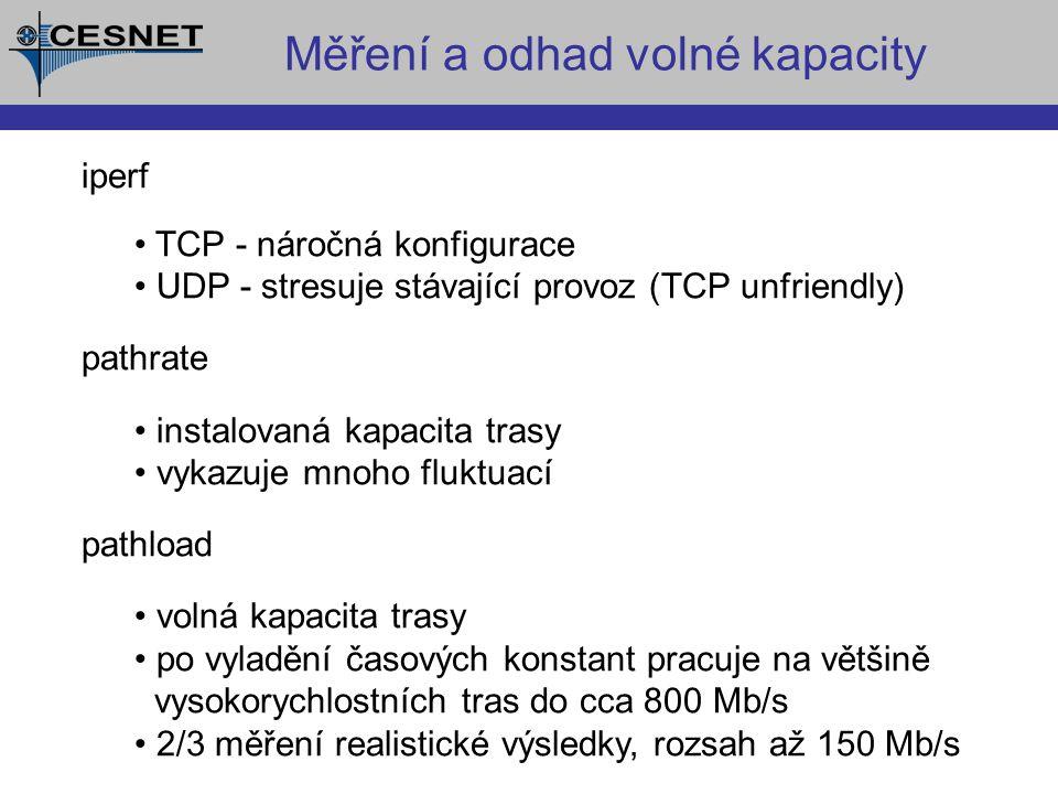 Měření a odhad volné kapacity iperf TCP - náročná konfigurace UDP - stresuje stávající provoz (TCP unfriendly) pathrate instalovaná kapacita trasy vykazuje mnoho fluktuací pathload volná kapacita trasy po vyladění časových konstant pracuje na většině vysokorychlostních tras do cca 800 Mb/s 2/3 měření realistické výsledky, rozsah až 150 Mb/s