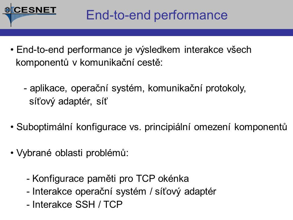 End-to-end performance End-to-end performance je výsledkem interakce všech komponentů v komunikační cestě: - aplikace, operační systém, komunikační protokoly, síťový adaptér, síť Suboptimální konfigurace vs.