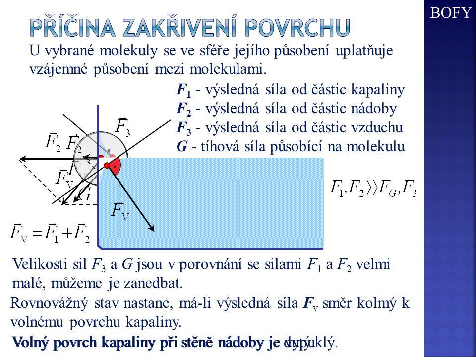 Volný povrch kapaliny při stěně nádoby je vypuklý. U vybrané molekuly se ve sféře jejího působení uplatňuje vzájemné působení mezi molekulami. F 1 - v