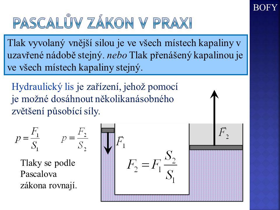 Tlak vyvolaný vnější silou je ve všech místech kapaliny v uzavřené nádobě stejný. nebo Tlak přenášený kapalinou je ve všech místech kapaliny stejný. H
