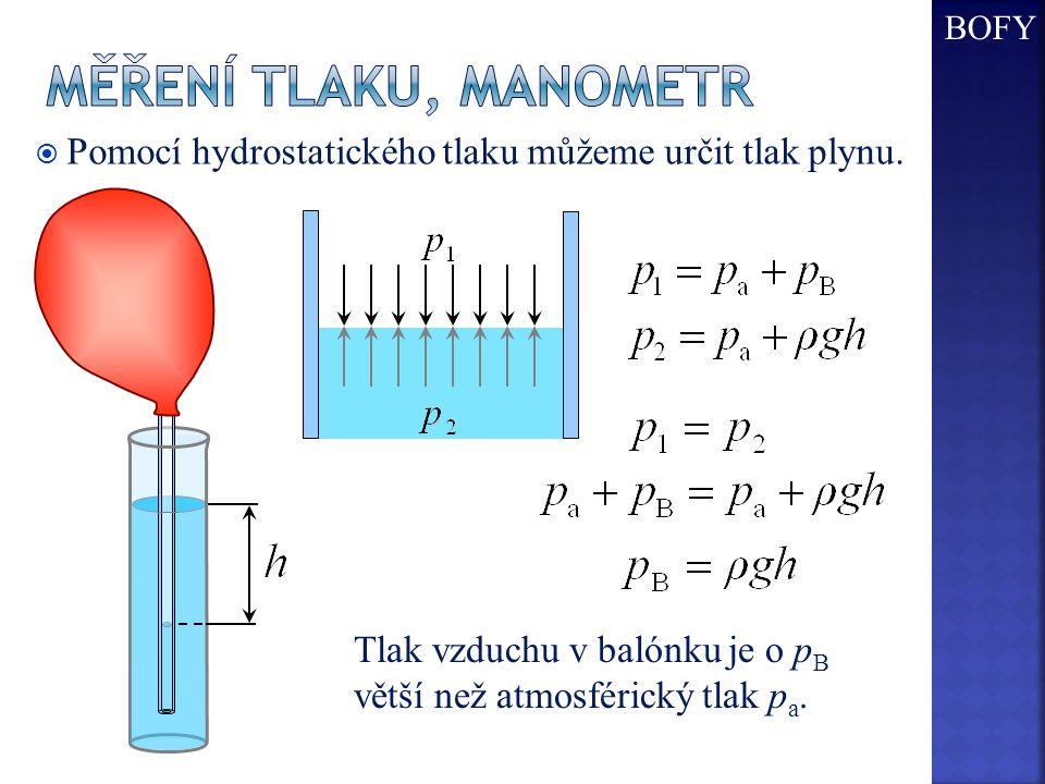  Pomocí hydrostatického tlaku můžeme určit tlak plynu. Tlak vzduchu v balónku je o p B větší než atmosférický tlak p a. BOFY