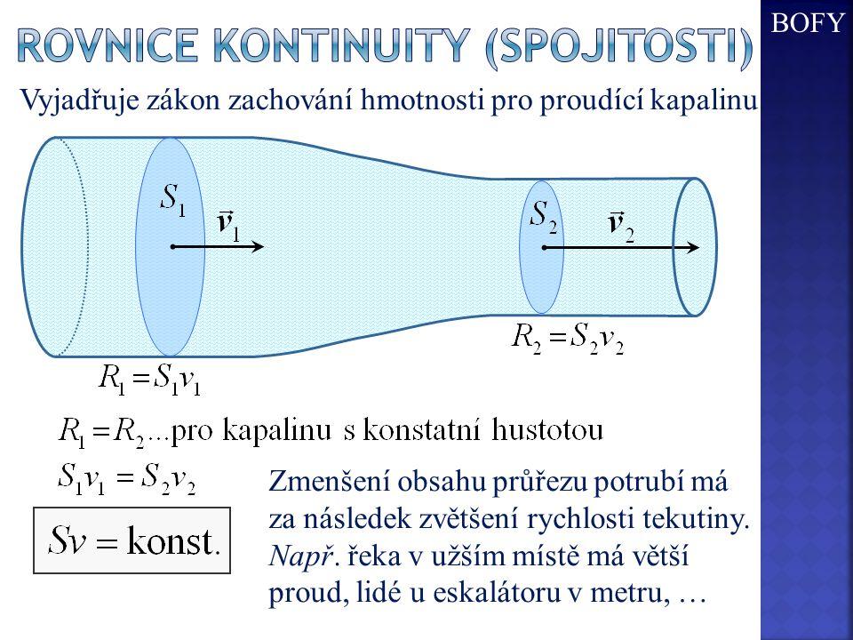 Vyjadřuje zákon zachování hmotnosti pro proudící kapalinu. Zmenšení obsahu průřezu potrubí má za následek zvětšení rychlosti tekutiny. Např. řeka v už