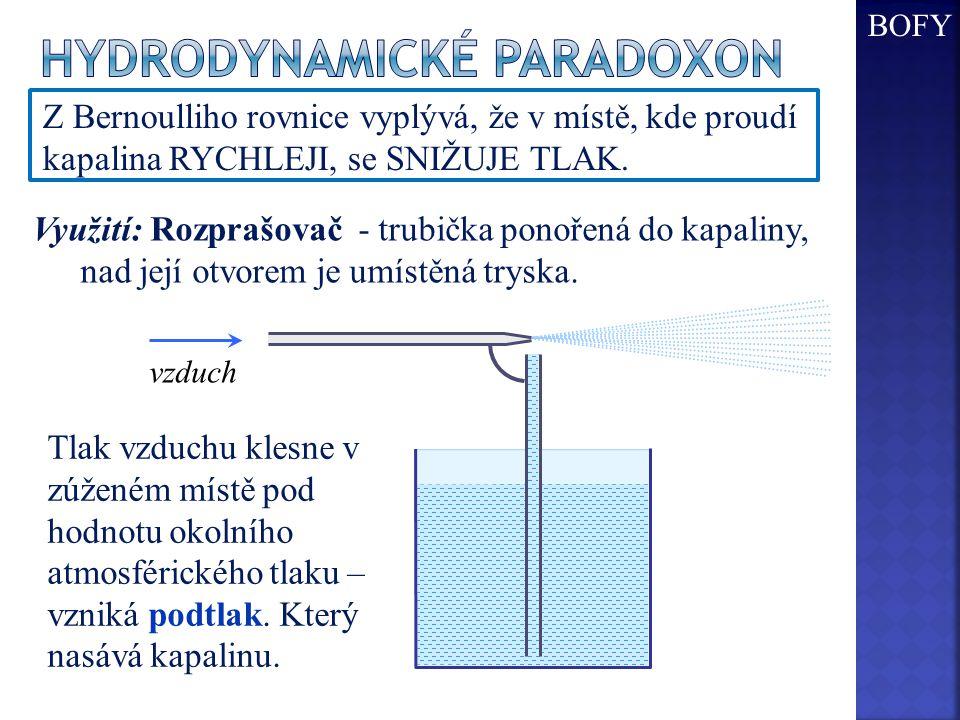 Z Bernoulliho rovnice vyplývá, že v místě, kde proudí kapalina RYCHLEJI, se SNIŽUJE TLAK. Tlak vzduchu klesne v zúženém místě pod hodnotu okolního atm
