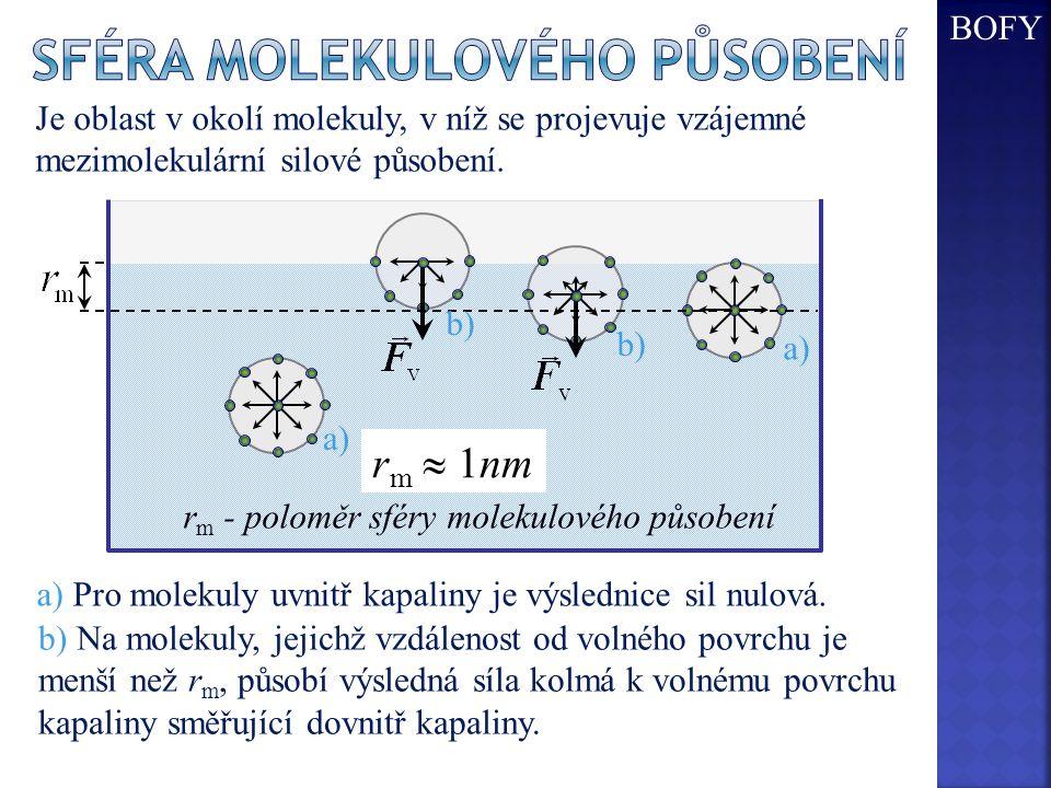 Je oblast v okolí molekuly, v níž se projevuje vzájemné mezimolekulární silové působení. r m  1nm r m - poloměr sféry molekulového působení a) Pro mo