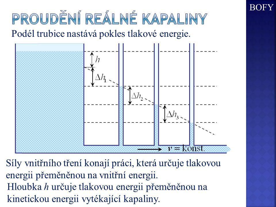 Podél trubice nastává pokles tlakové energie. Síly vnitřního tření konají práci, která určuje tlakovou energii přeměněnou na vnitřní energii. Hloubka