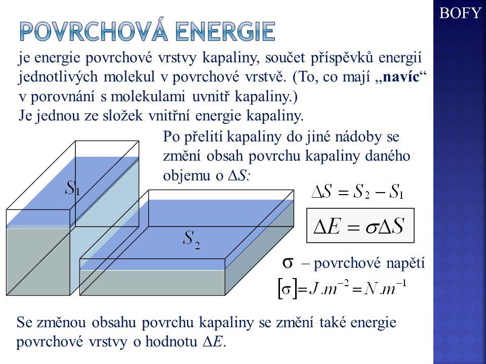 Po přelití kapaliny do jiné nádoby se změní obsah povrchu kapaliny daného objemu o  S: Se změnou obsahu povrchu kapaliny se změní také energie povrch