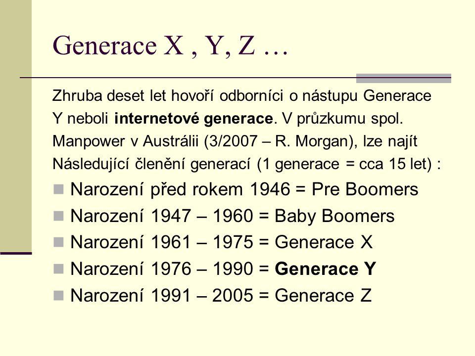 Generace X, Y, Z … Zhruba deset let hovoří odborníci o nástupu Generace Y neboli internetové generace. V průzkumu spol. Manpower v Austrálii (3/2007 –