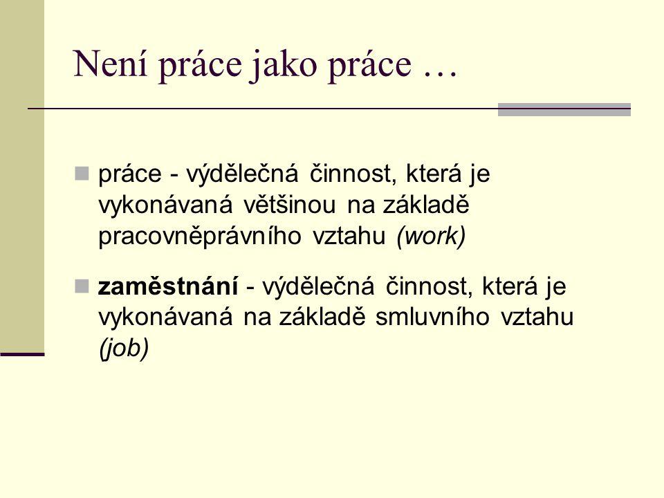 Není práce jako práce … práce - výdělečná činnost, která je vykonávaná většinou na základě pracovněprávního vztahu (work) zaměstnání - výdělečná činno