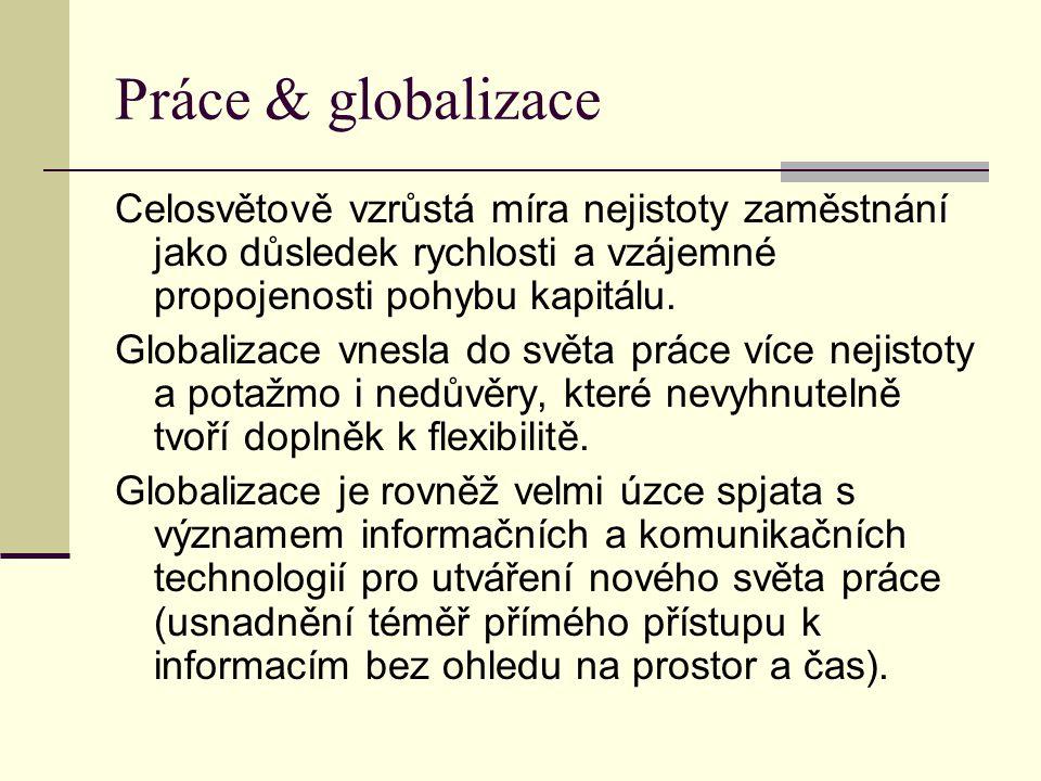 Práce & globalizace Celosvětově vzrůstá míra nejistoty zaměstnání jako důsledek rychlosti a vzájemné propojenosti pohybu kapitálu. Globalizace vnesla