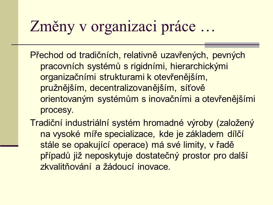 Změny v organizaci práce … Přechod od tradičních, relativně uzavřených, pevných pracovních systémů s rigidními, hierarchickými organizačními struktura