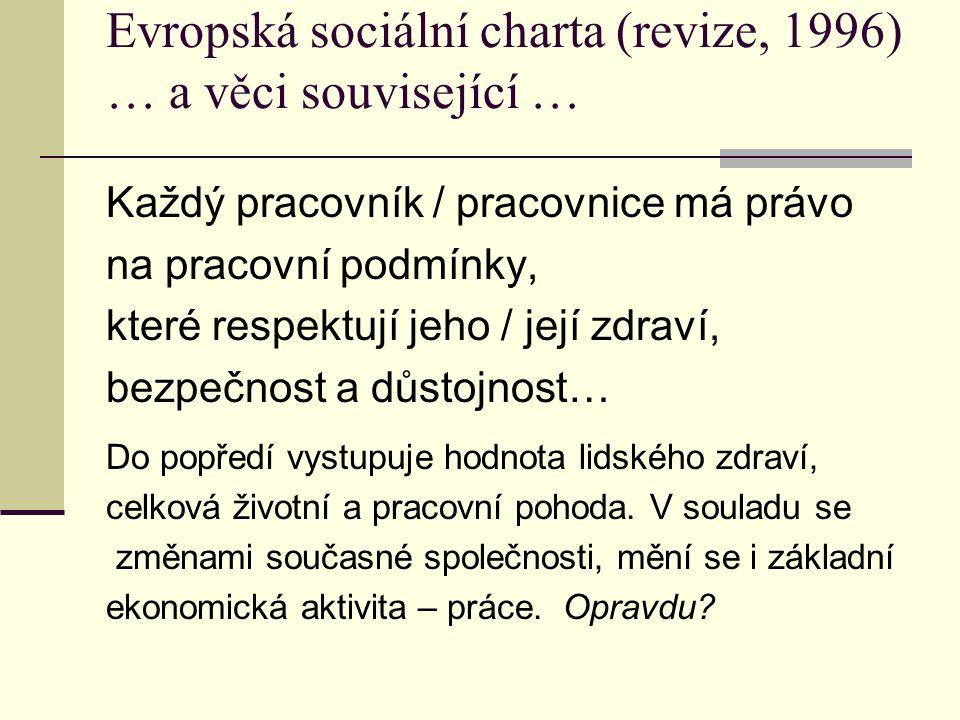 Evropská sociální charta (revize, 1996) … a věci související … Každý pracovník / pracovnice má právo na pracovní podmínky, které respektují jeho / jej