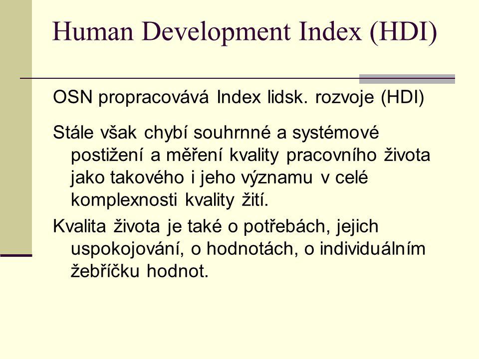 Human Development Index (HDI) OSN propracovává Index lidsk. rozvoje (HDI) Stále však chybí souhrnné a systémové postižení a měření kvality pracovního