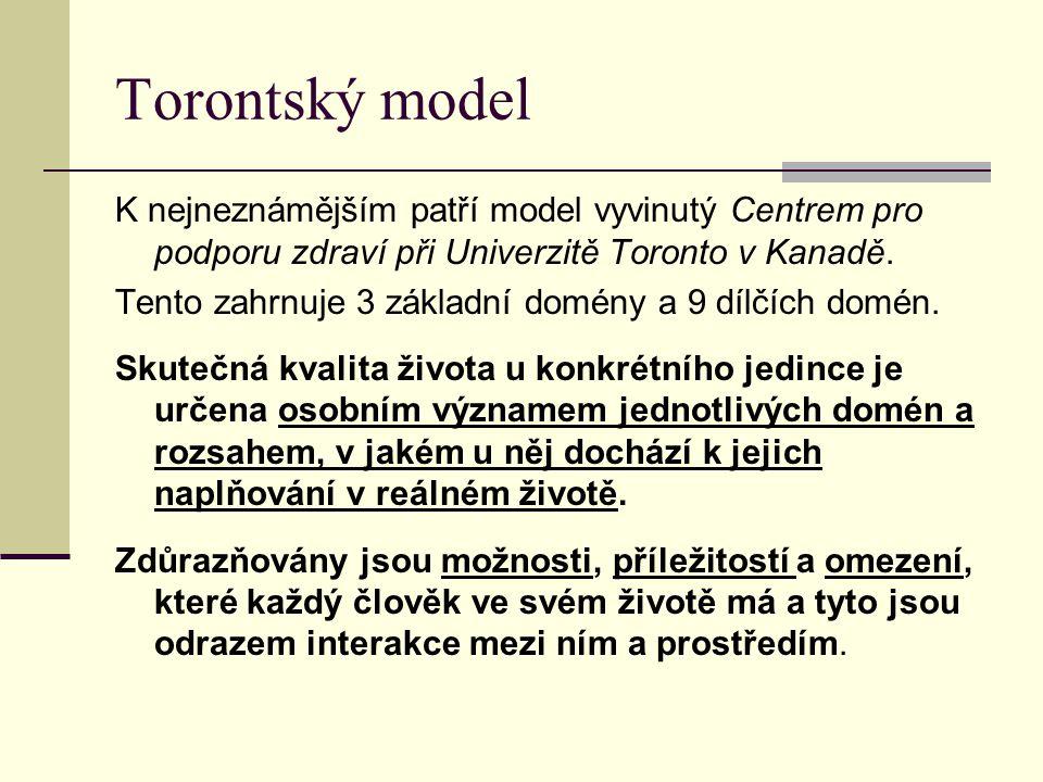 Torontský model K nejneznámějším patří model vyvinutý Centrem pro podporu zdraví při Univerzitě Toronto v Kanadě. Tento zahrnuje 3 základní domény a 9