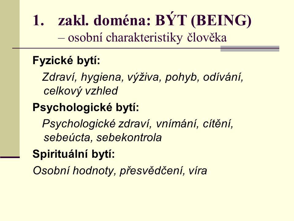1.zakl. doména: BÝT (BEING) – osobní charakteristiky člověka Fyzické bytí: Zdraví, hygiena, výživa, pohyb, odívání, celkový vzhled Psychologické bytí: