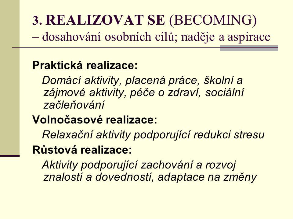 3. REALIZOVAT SE (BECOMING) – dosahování osobních cílů; naděje a aspirace Praktická realizace: Domácí aktivity, placená práce, školní a zájmové aktivi