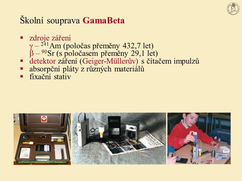 Školní souprava GamaBeta  zdroje záření γ – 241 Am (poločas přeměny 432,7 let)  – 90 Sr (s poločasem přeměny 29,1 let)  detektor záření (Geiger-Mül