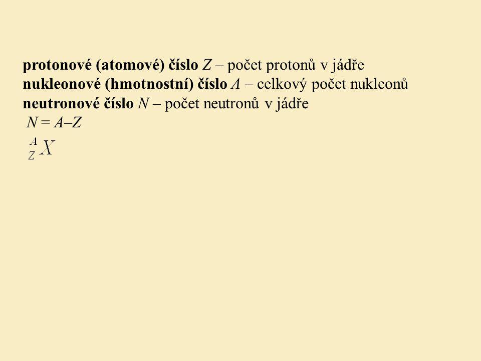 protonové (atomové) číslo Z – počet protonů v jádře nukleonové (hmotnostní) číslo A – celkový počet nukleonů neutronové číslo N – počet neutronů v jád
