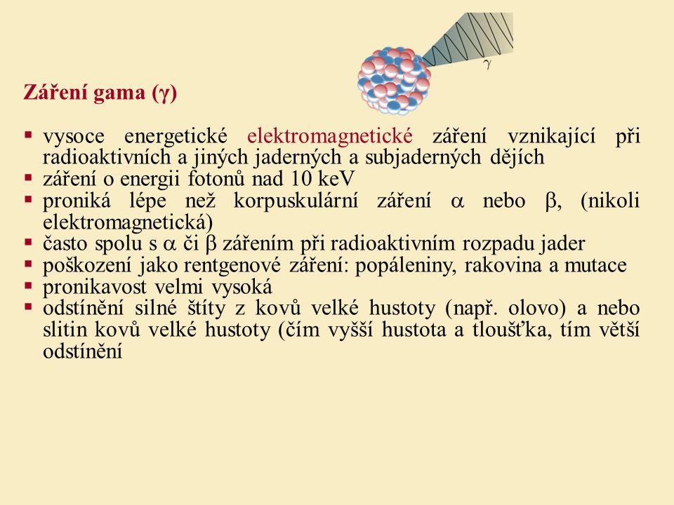 Záření gama (γ)  vysoce energetické elektromagnetické záření vznikající při radioaktivních a jiných jaderných a subjaderných dějích  záření o energi