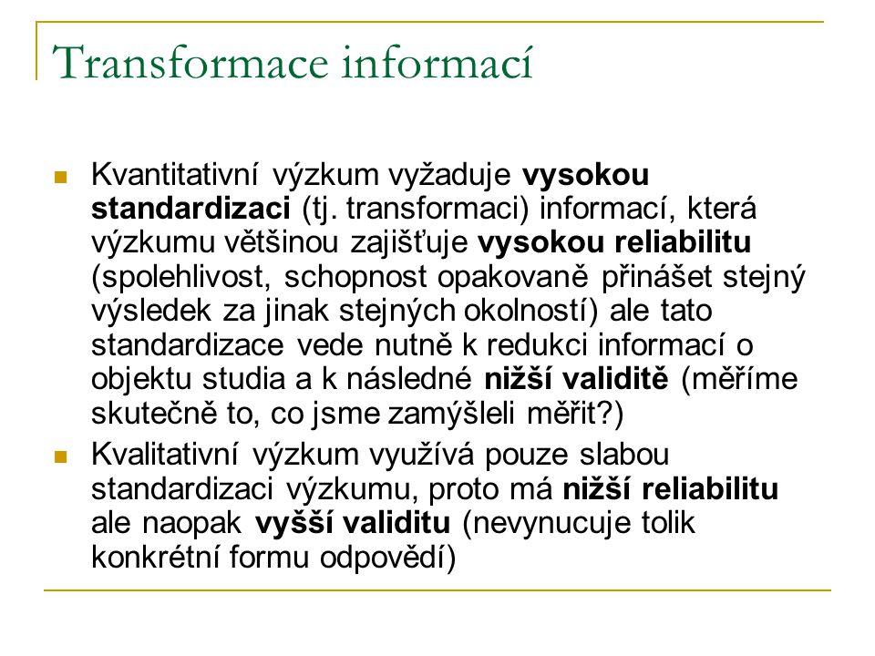 Transformace informací Kvantitativní výzkum vyžaduje vysokou standardizaci (tj. transformaci) informací, která výzkumu většinou zajišťuje vysokou reli