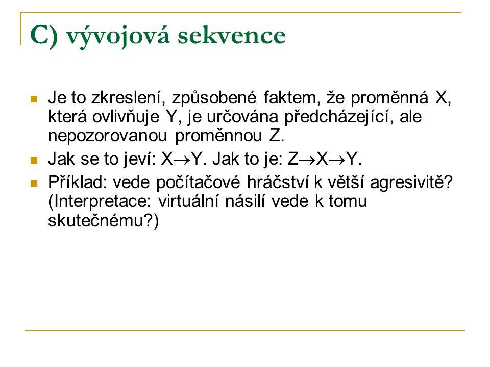 C) vývojová sekvence Je to zkreslení, způsobené faktem, že proměnná X, která ovlivňuje Y, je určována předcházející, ale nepozorovanou proměnnou Z. Ja