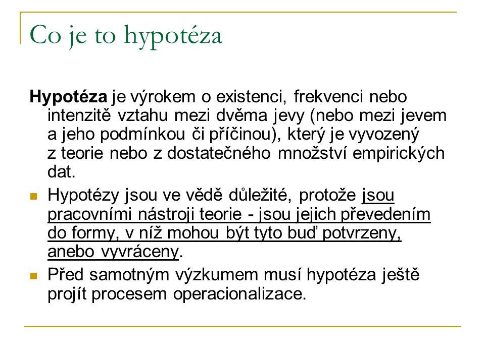 Co je to hypotéza Hypotéza je výrokem o existenci, frekvenci nebo intenzitě vztahu mezi dvěma jevy (nebo mezi jevem a jeho podmínkou či příčinou), kte