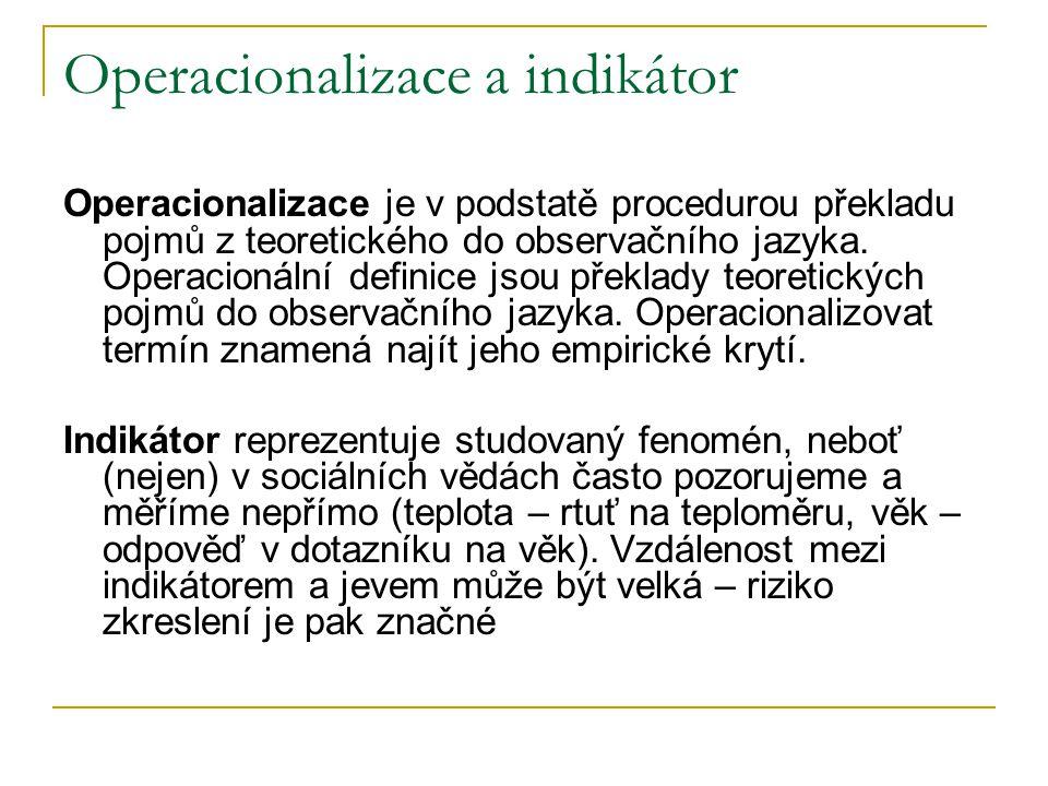 Operacionalizace a indikátor Operacionalizace je v podstatě procedurou překladu pojmů z teoretického do observačního jazyka. Operacionální definice js