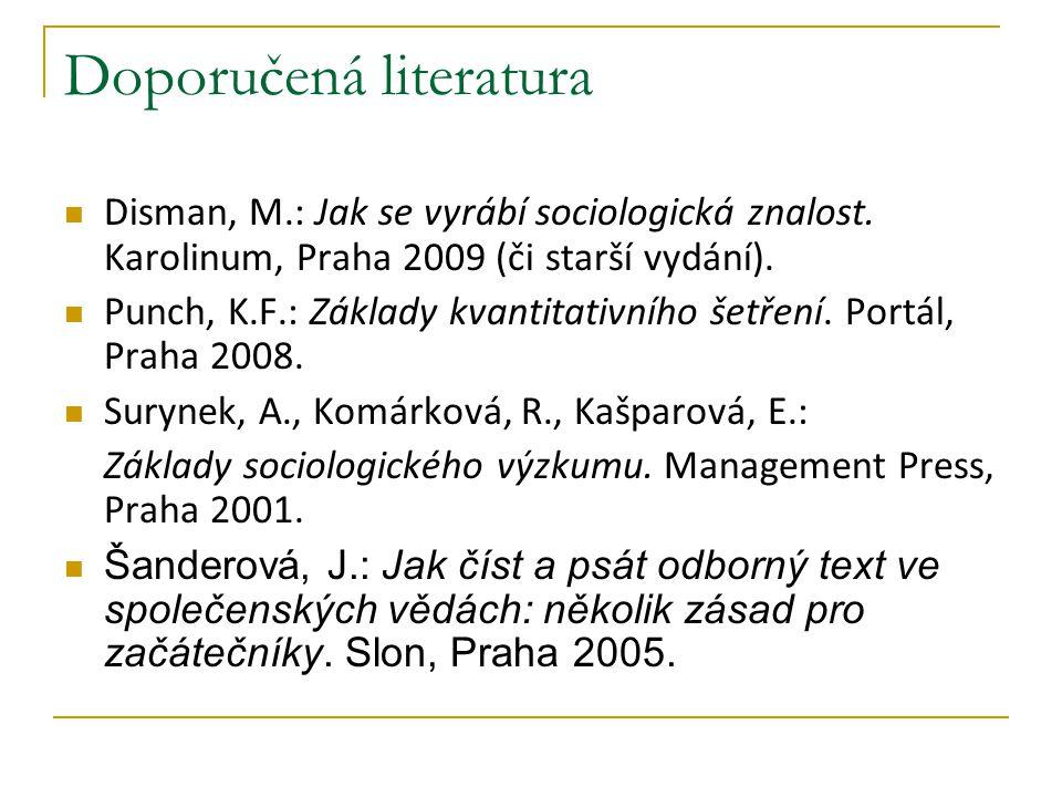 Doporučená literatura Disman, M.: Jak se vyrábí sociologická znalost. Karolinum, Praha 2009 (či starší vydání). Punch, K.F.: Základy kvantitativního š
