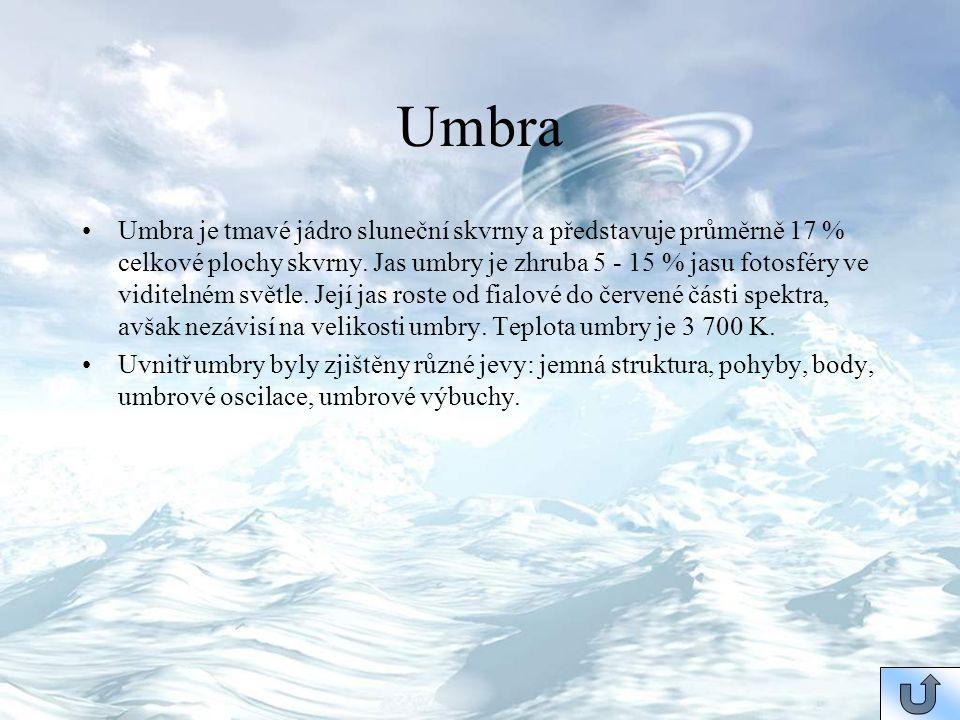 Umbra Umbra je tmavé jádro sluneční skvrny a představuje průměrně 17 % celkové plochy skvrny. Jas umbry je zhruba 5 - 15 % jasu fotosféry ve viditelné
