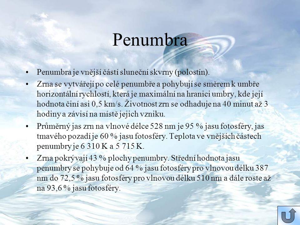 Penumbra Penumbra je vnější částí sluneční skvrny (polostín). Zrna se vytvářejí po celé penumbře a pohybují se směrem k umbře horizontální rychlostí,