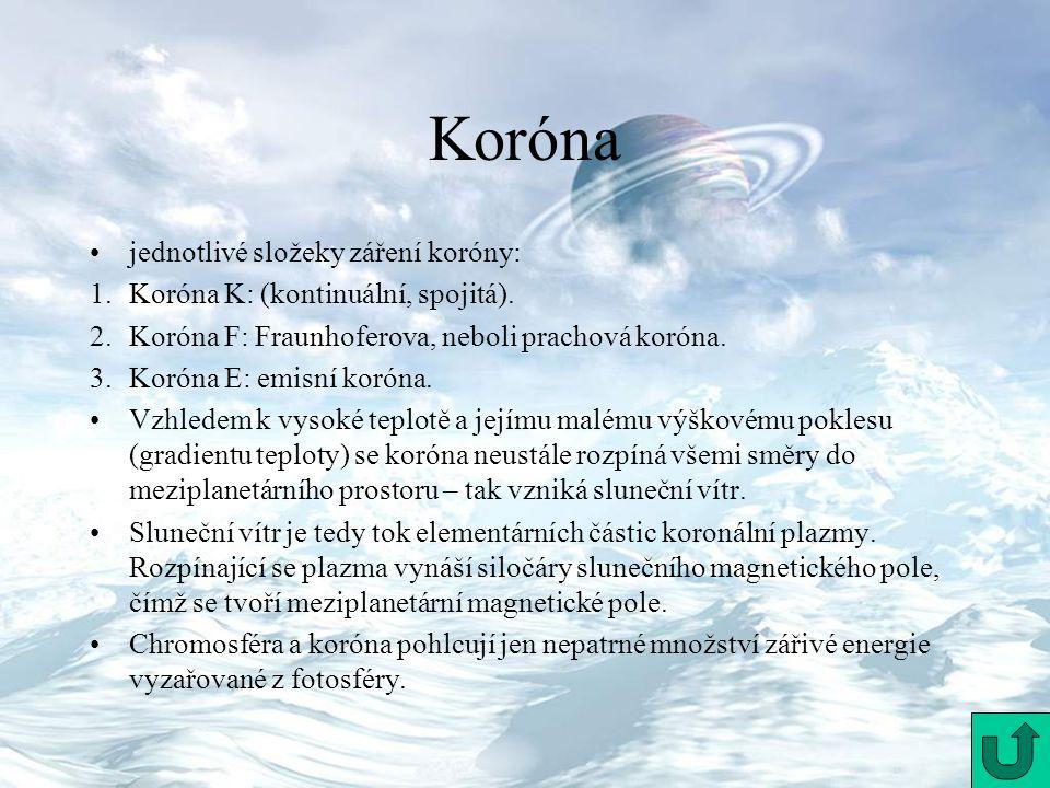 Koróna jednotlivé složeky záření koróny: 1.Koróna K: (kontinuální, spojitá). 2.Koróna F: Fraunhoferova, neboli prachová koróna. 3.Koróna E: emisní kor