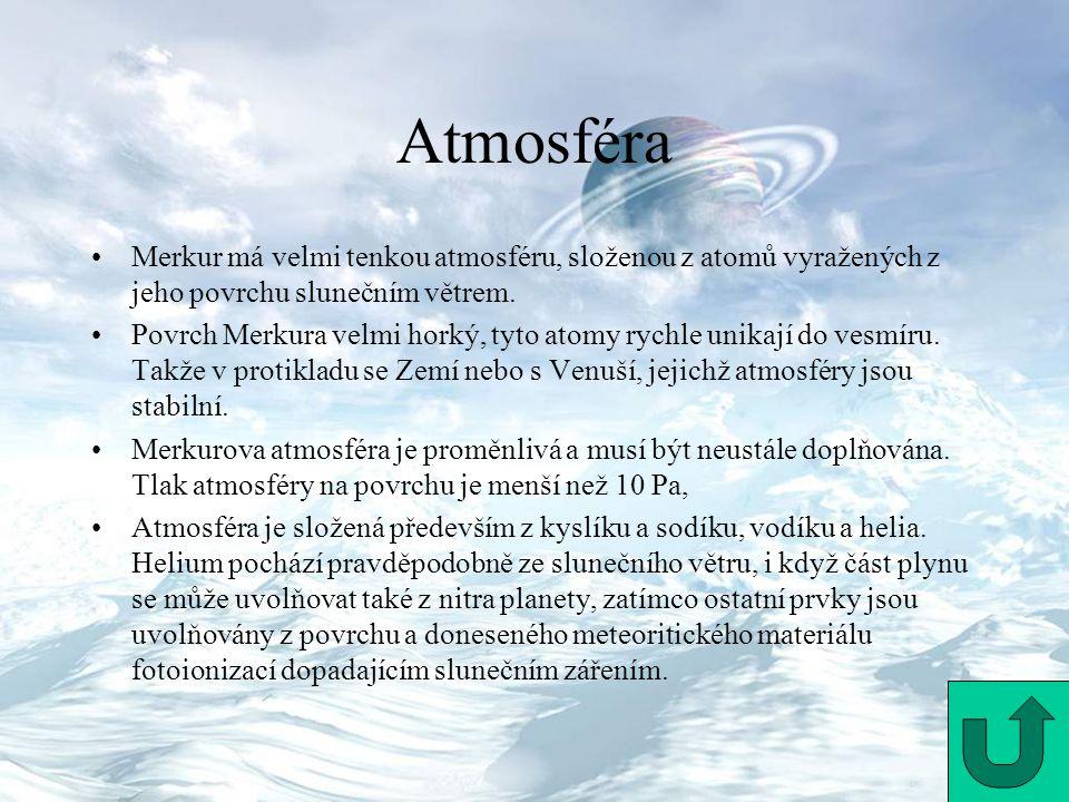 Atmosféra Merkur má velmi tenkou atmosféru, složenou z atomů vyražených z jeho povrchu slunečním větrem. Povrch Merkura velmi horký, tyto atomy rychle