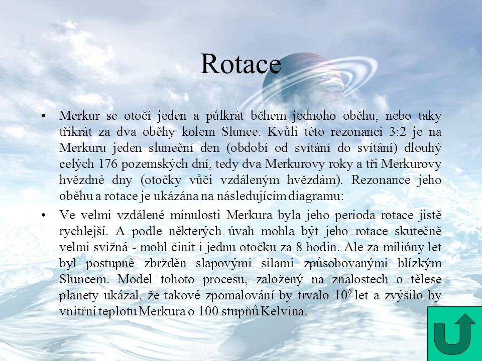 Rotace Merkur se otočí jeden a půlkrát během jednoho oběhu, nebo taky třikrát za dva oběhy kolem Slunce. Kvůli této rezonanci 3:2 je na Merkuru jeden