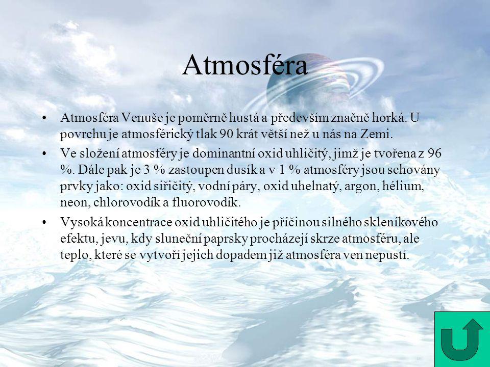 Atmosféra Atmosféra Venuše je poměrně hustá a především značně horká. U povrchu je atmosférický tlak 90 krát větší než u nás na Zemi. Ve složení atmos