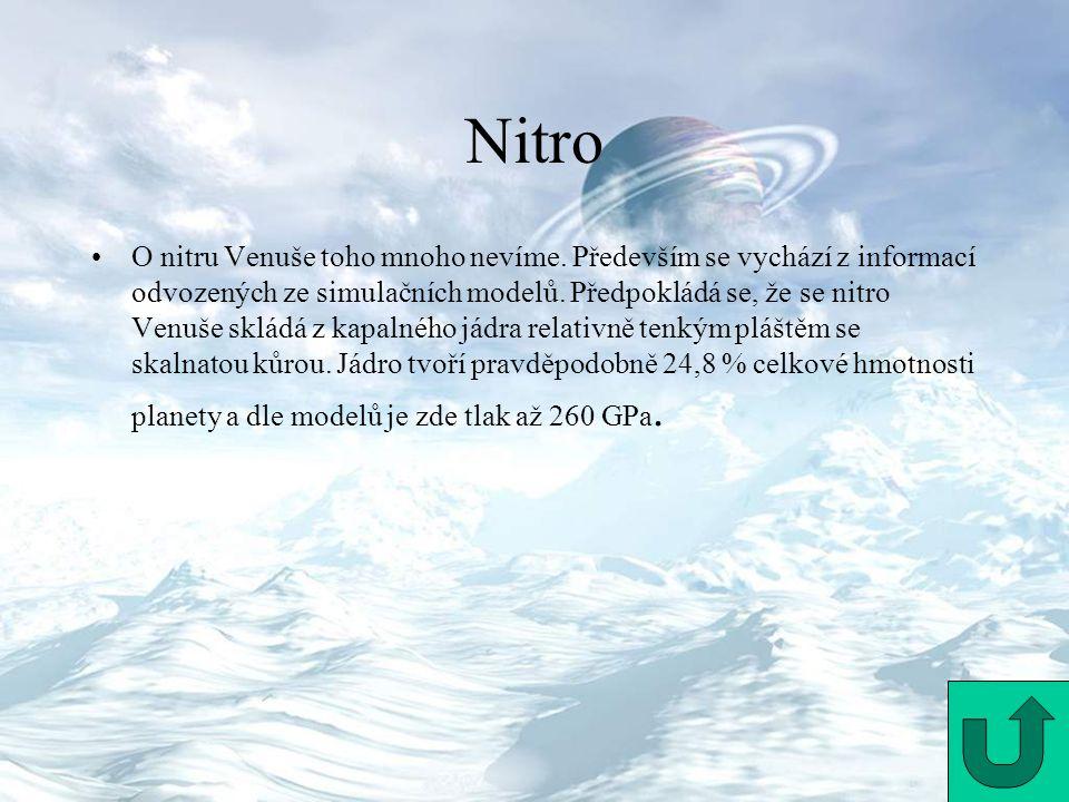 Nitro O nitru Venuše toho mnoho nevíme. Především se vychází z informací odvozených ze simulačních modelů. Předpokládá se, že se nitro Venuše skládá z