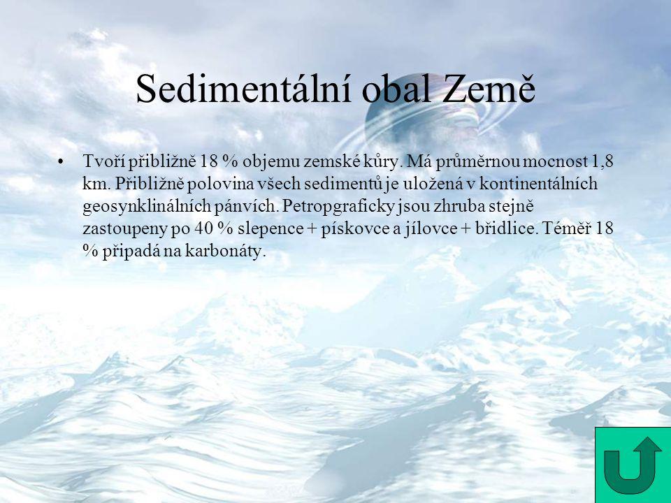 Sedimentální obal Země Tvoří přibližně 18 % objemu zemské kůry. Má průměrnou mocnost 1,8 km. Přibližně polovina všech sedimentů je uložená v kontinent