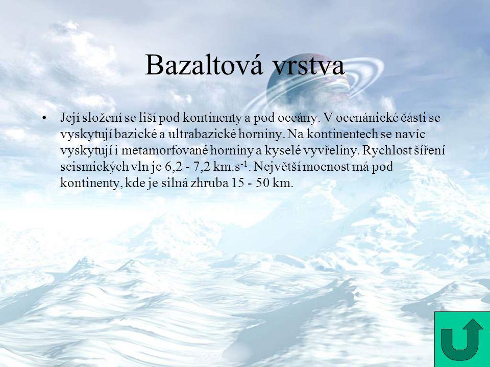 Bazaltová vrstva Její složení se liší pod kontinenty a pod oceány. V ocenánické části se vyskytují bazické a ultrabazické horniny. Na kontinentech se