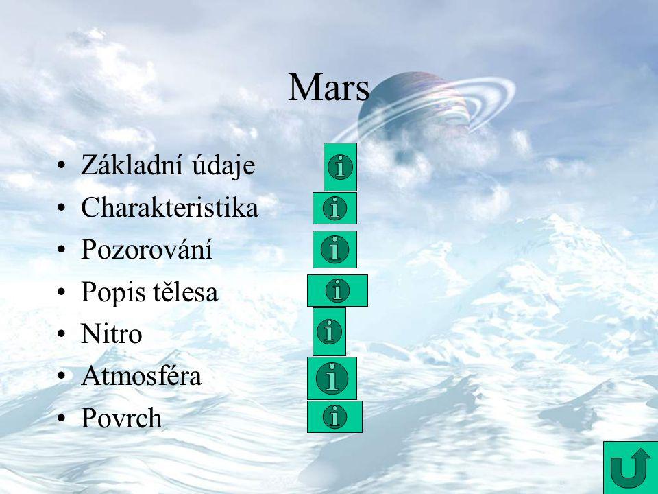 Mars Základní údaje Charakteristika Pozorování Popis tělesa Nitro Atmosféra Povrch