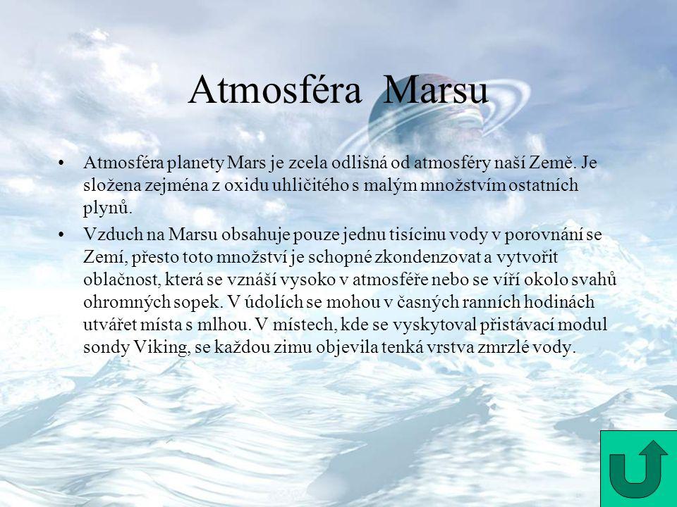 Atmosféra Marsu Atmosféra planety Mars je zcela odlišná od atmosféry naší Země. Je složena zejména z oxidu uhličitého s malým množstvím ostatních plyn