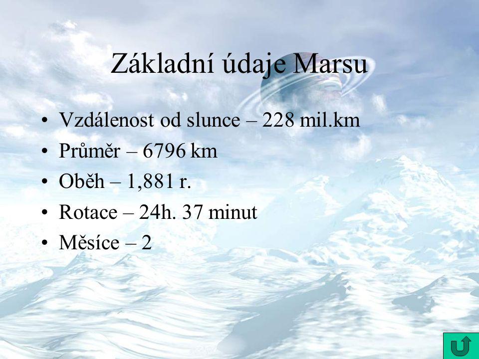Základní údaje Marsu Vzdálenost od slunce – 228 mil.km Průměr – 6796 km Oběh – 1,881 r. Rotace – 24h. 37 minut Měsíce – 2