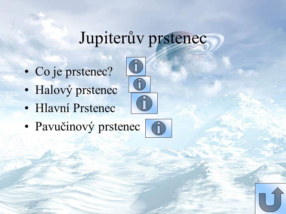 Jupiterův prstenec Co je prstenec? Halový prstenec Hlavní Prstenec Pavučinový prstenec