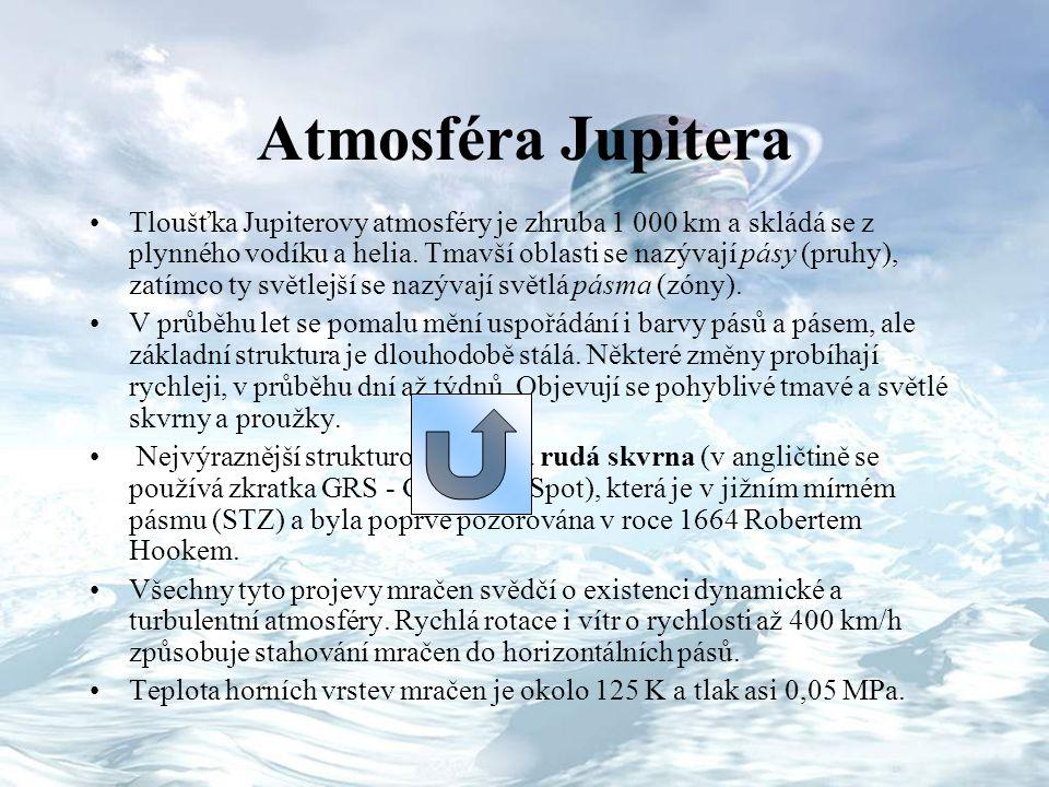 Atmosféra Jupitera Tloušťka Jupiterovy atmosféry je zhruba 1 000 km a skládá se z plynného vodíku a helia. Tmavší oblasti se nazývají pásy (pruhy), za