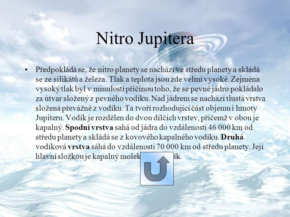 Nitro Jupitera Předpokládá se, že nitro planety se nachází ve středu planety a skládá se ze silikátů a železa. Tlak a teplota jsou zde velmi vysoké. Z