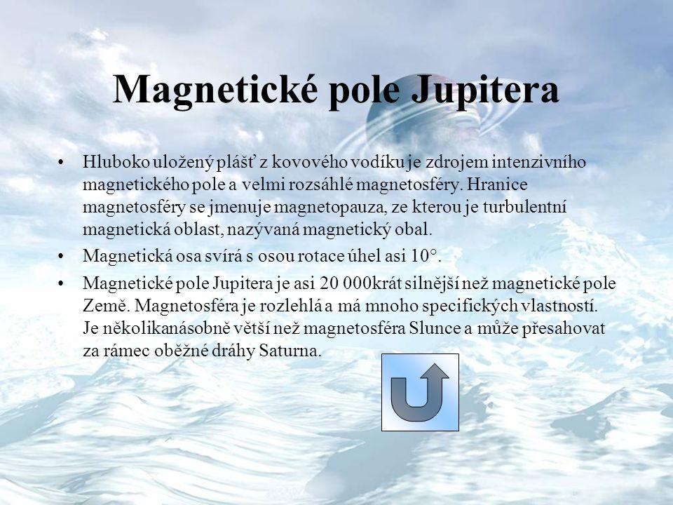 Magnetické pole Jupitera Hluboko uložený plášť z kovového vodíku je zdrojem intenzivního magnetického pole a velmi rozsáhlé magnetosféry. Hranice magn
