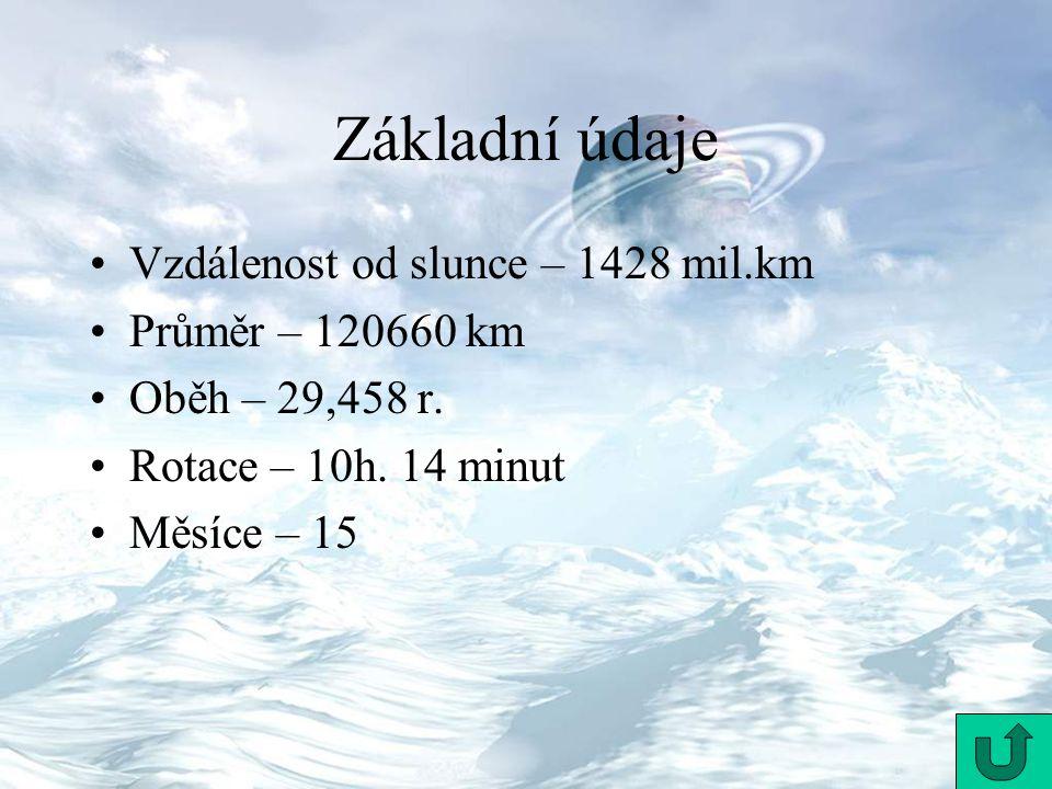 Vzdálenost od slunce – 1428 mil.km Průměr – 120660 km Oběh – 29,458 r. Rotace – 10h. 14 minut Měsíce – 15