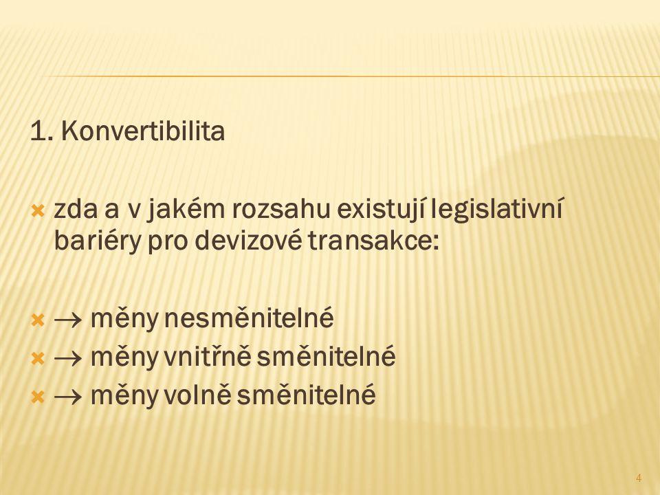 1. Konvertibilita  zda a v jakém rozsahu existují legislativní bariéry pro devizové transakce:   měny nesměnitelné   měny vnitřně směnitelné  