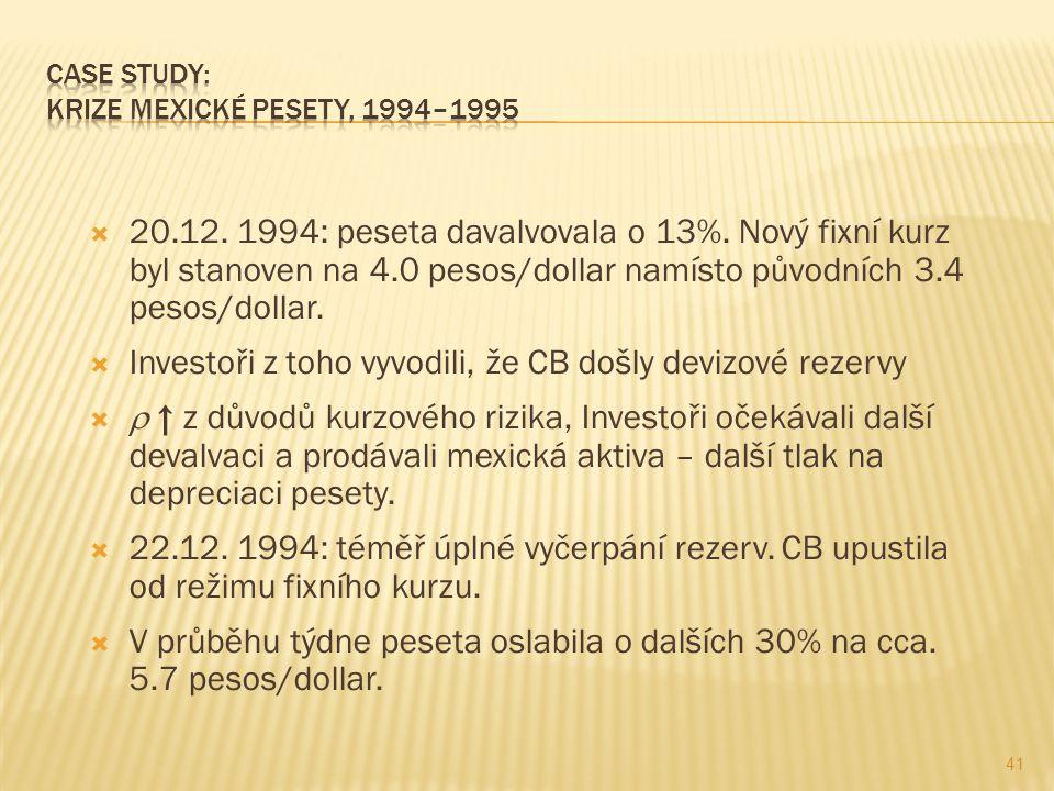  20.12. 1994: peseta davalvovala o 13%. Nový fixní kurz byl stanoven na 4.0 pesos/dollar namísto původních 3.4 pesos/dollar.  Investoři z toho vyvod