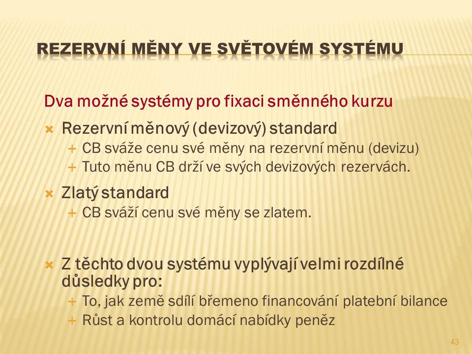 Dva možné systémy pro fixaci směnného kurzu  Rezervní měnový (devizový) standard  CB sváže cenu své měny na rezervní měnu (devizu)  Tuto měnu CB dr